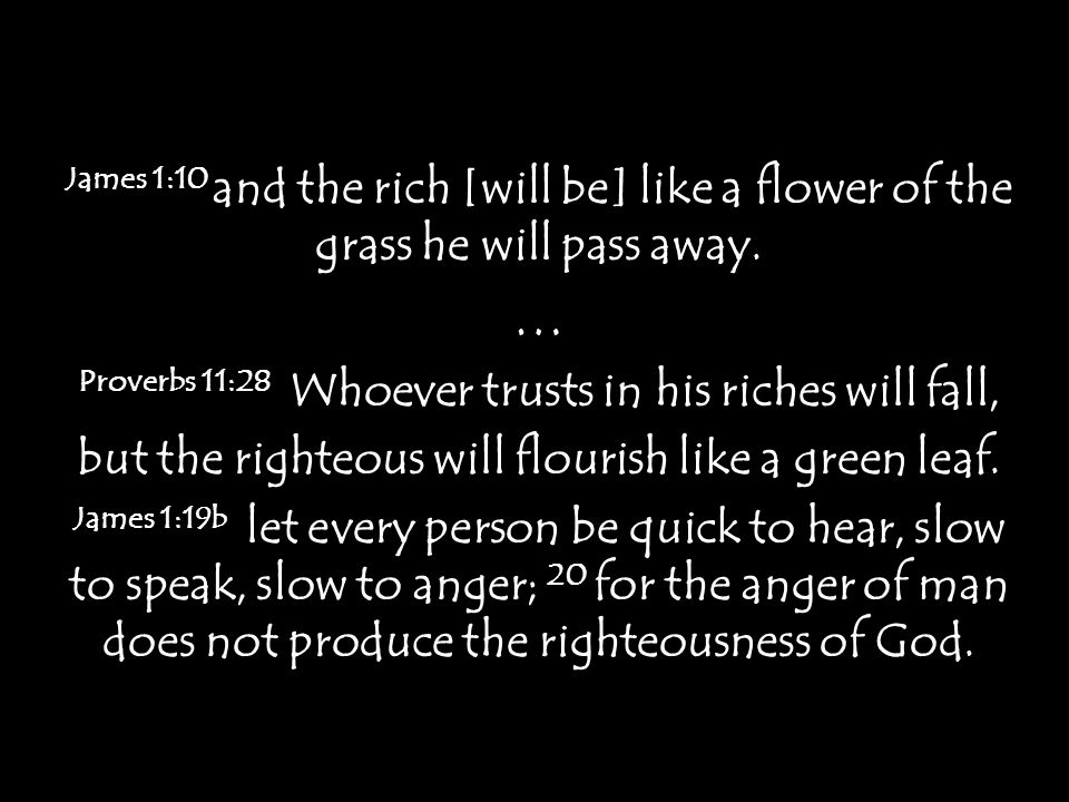 James 1:10 and the rich [will be] like a flower of the grass he will pass away. … Proverbs 11:28 Whoever trusts in his riches will fall, but the right