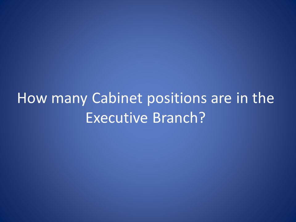 How many Cabinet positions are in the Executive Branch