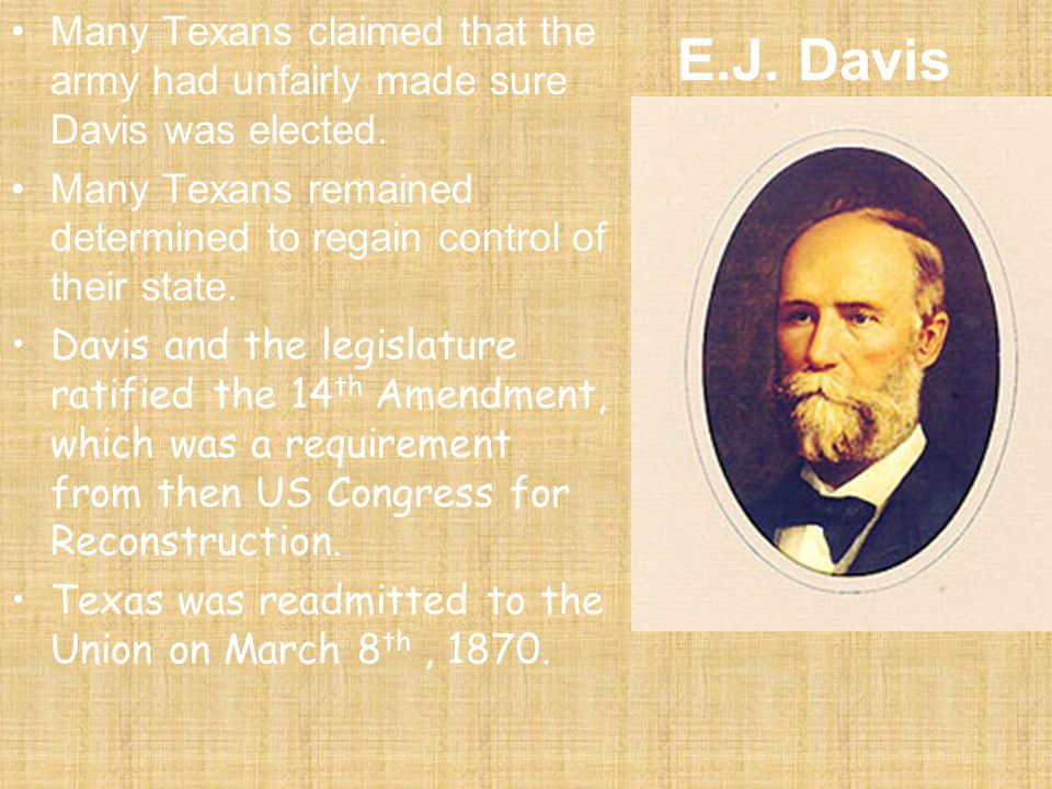 The New Constitution of 1869: –This was a Radical Republican Constitution for Texas! –declared the Constitution of the U.S. as law –guaranteed the rig