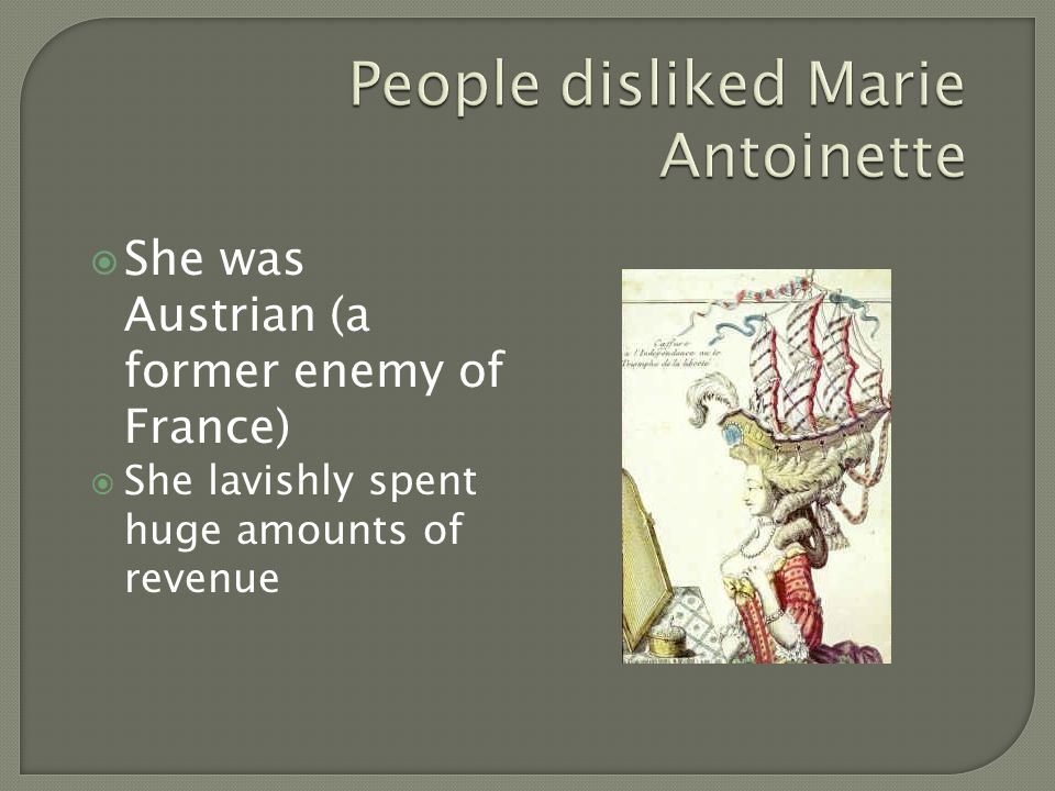  She was Austrian (a former enemy of France)  She lavishly spent huge amounts of revenue