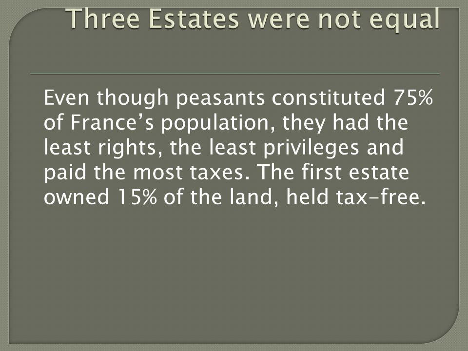Even though peasants constituted 75% of France's population, they had the least rights, the least privileges and paid the most taxes.