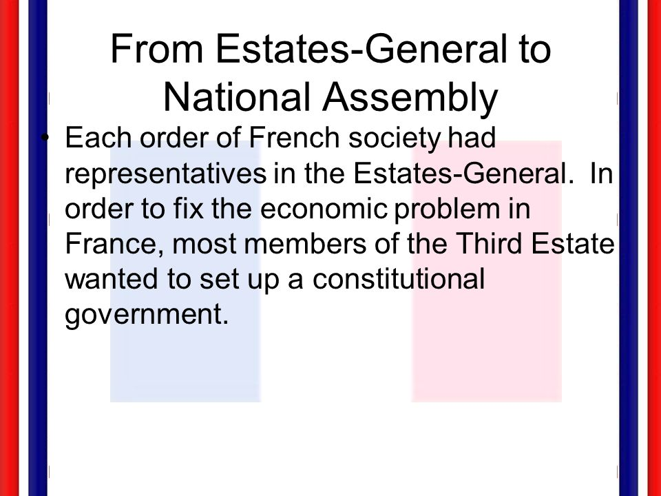 Commoners 3rd Estate Aristocracy 2nd Estate Clergy 1st Estate The Number of Representatives in the Estates General: Vote by Head.