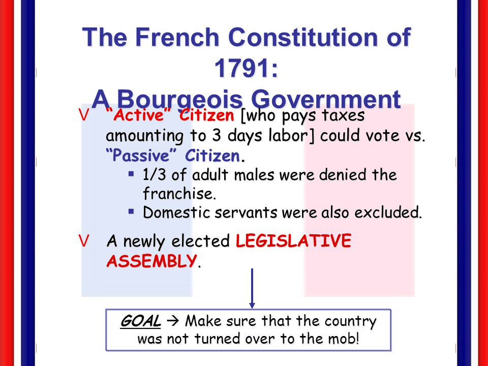 The French Constitution of 1791: A Bourgeois Government VThe king got the suspensive veto [which prevented the passage of laws for 4 years].