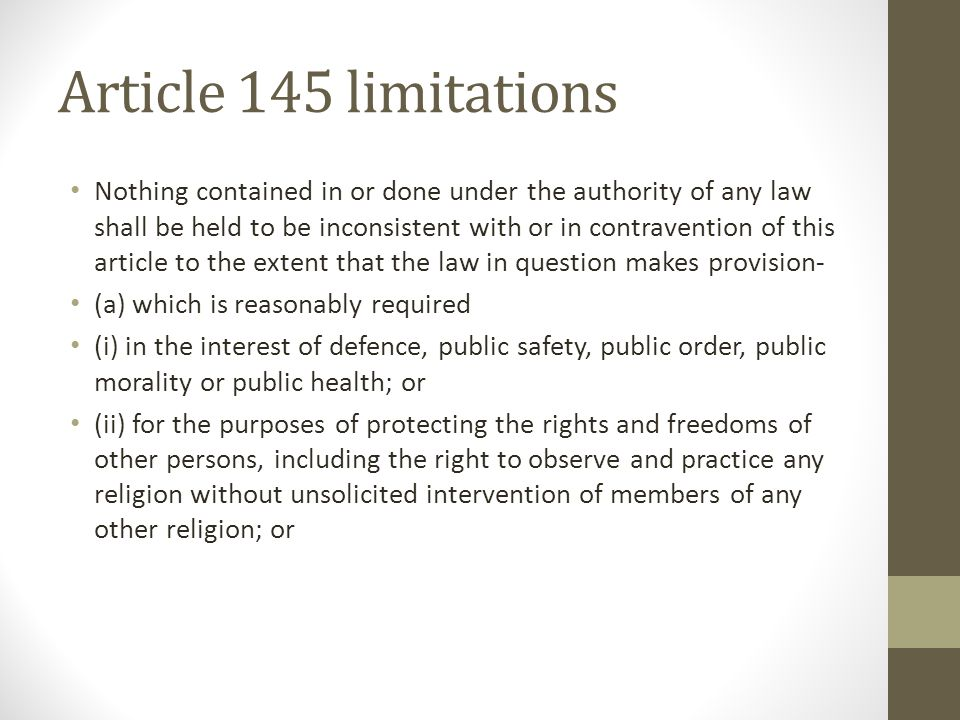 Article 145 (iii) Or (iii) With respect to standards or qualifications to be required in relation to places of education including any instruction ( not being religious instruction) given at such places.