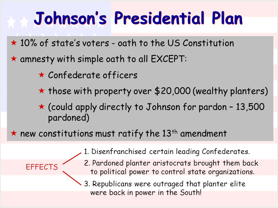 Johnson's Presidential Plan  10% of state's voters - oath to the US Constitution  amnesty with simple oath to all EXCEPT:  Confederate officers  t