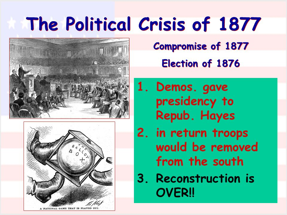 The Political Crisis of 1877 Compromise of 1877 Election of 1876 The Political Crisis of 1877 Compromise of 1877 Election of 1876 1.Demos. gave presid