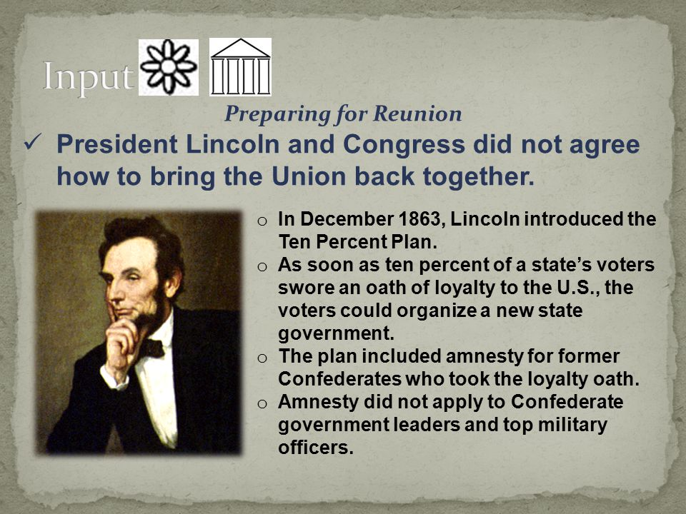 Preparing for Reunion President Lincoln and Congress did not agree how to bring the Union back together.