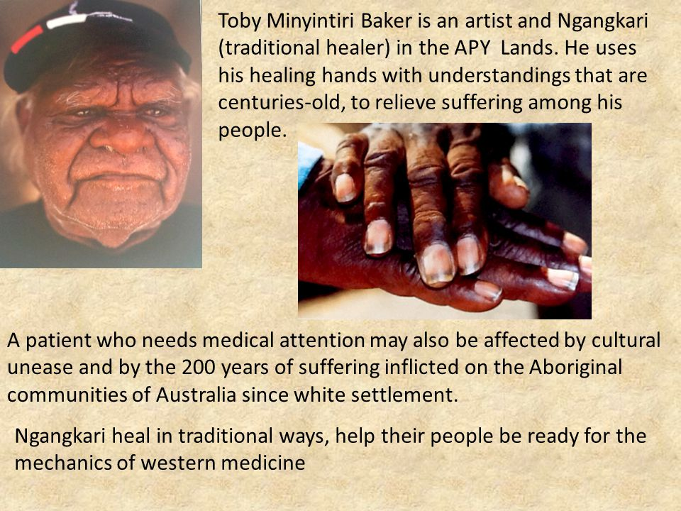 Toby Minyintiri Baker is an artist and Ngangkari (traditional healer) in the APY Lands. He uses his healing hands with understandings that are centuri