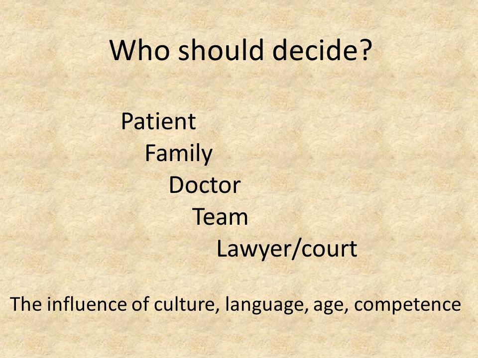 Patient Family Doctor Team Lawyer/court The influence of culture, language, age, competence Who should decide?