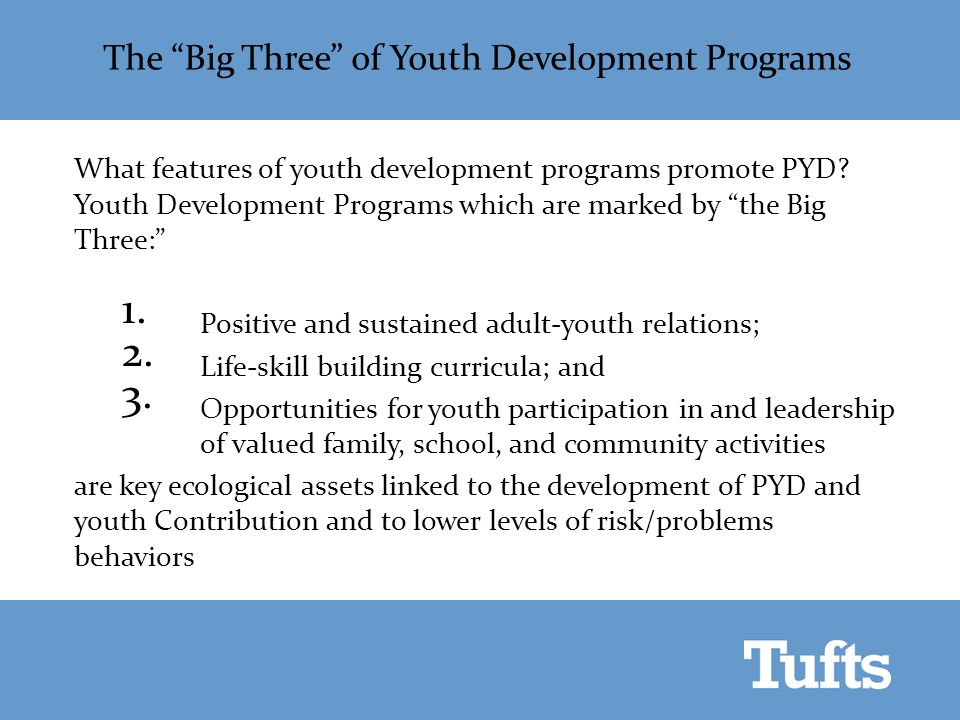 "The ""Big Three"" of Youth Development Programs What features of youth development programs promote PYD? Youth Development Programs which are marked by"