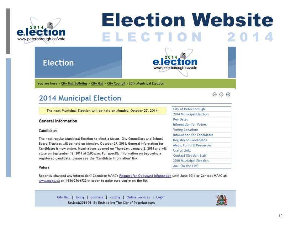 Election Website E L E C T I O N 2 0 1 4 11