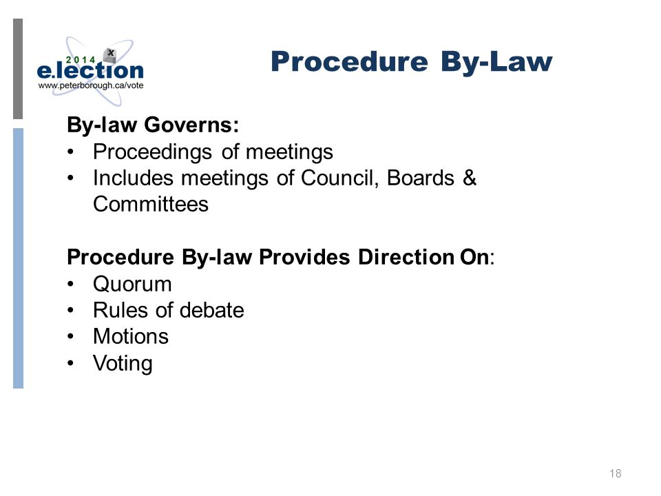 Procedure By-Law By-law Governs: Proceedings of meetings Includes meetings of Council, Boards & Committees Procedure By-law Provides Direction On: Quorum Rules of debate Motions Voting 18