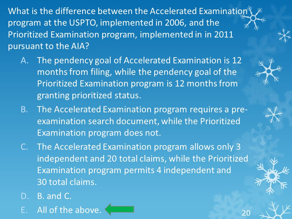 What is the difference between the Accelerated Examination program at the USPTO, implemented in 2006, and the Prioritized Examination program, impleme
