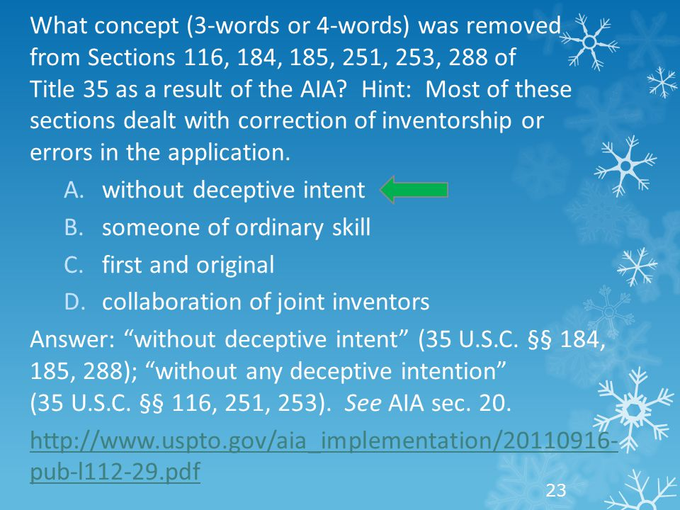 What concept (3-words or 4-words) was removed from Sections 116, 184, 185, 251, 253, 288 of Title 35 as a result of the AIA? Hint: Most of these secti