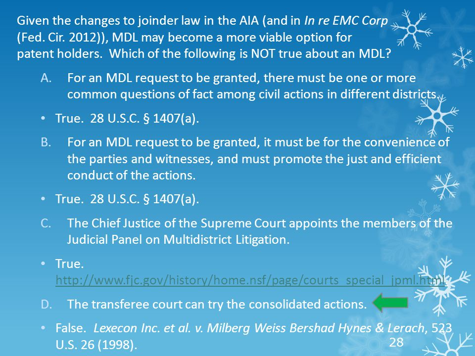 Given the changes to joinder law in the AIA (and in In re EMC Corp (Fed.