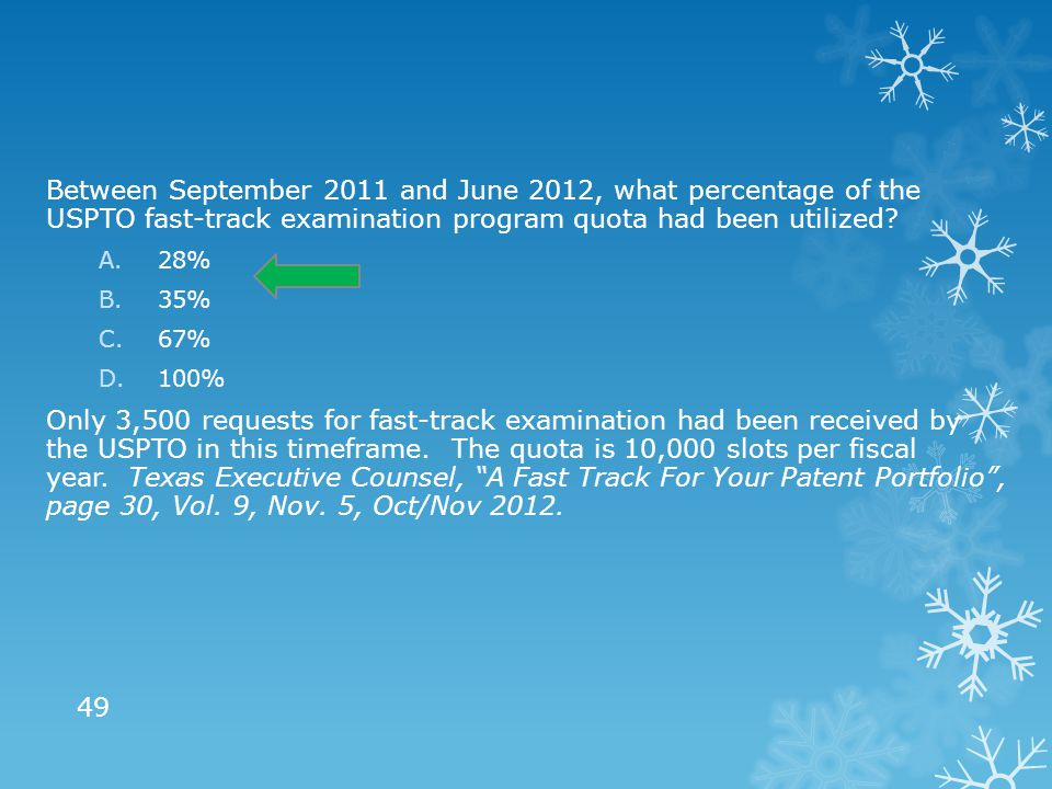 Between September 2011 and June 2012, what percentage of the USPTO fast-track examination program quota had been utilized? A.28% B.35% C.67% D.100% On