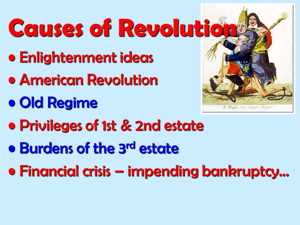 Enlightenment ideasEnlightenment ideas American RevolutionAmerican Revolution Old RegimeOld Regime Privileges of 1st & 2nd estatePrivileges of 1st & 2