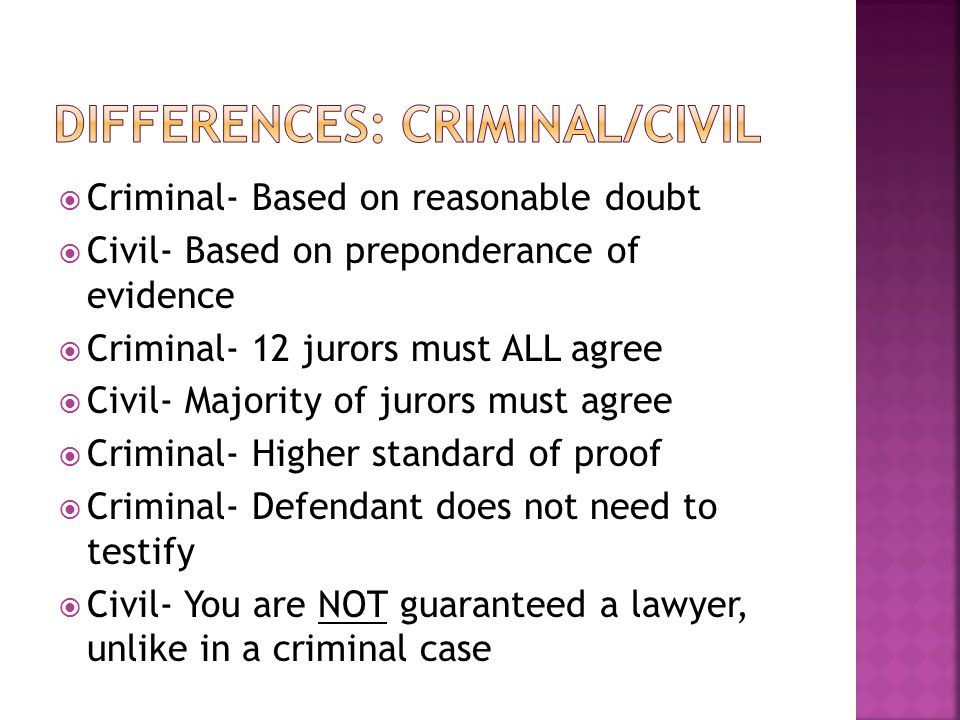  Criminal- Based on reasonable doubt  Civil- Based on preponderance of evidence  Criminal- 12 jurors must ALL agree  Civil- Majority of jurors must agree  Criminal- Higher standard of proof  Criminal- Defendant does not need to testify  Civil- You are NOT guaranteed a lawyer, unlike in a criminal case