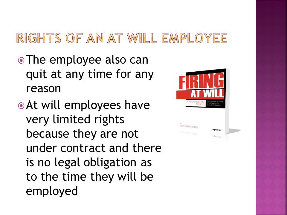  The employee also can quit at any time for any reason  At will employees have very limited rights because they are not under contract and there is no legal obligation as to the time they will be employed