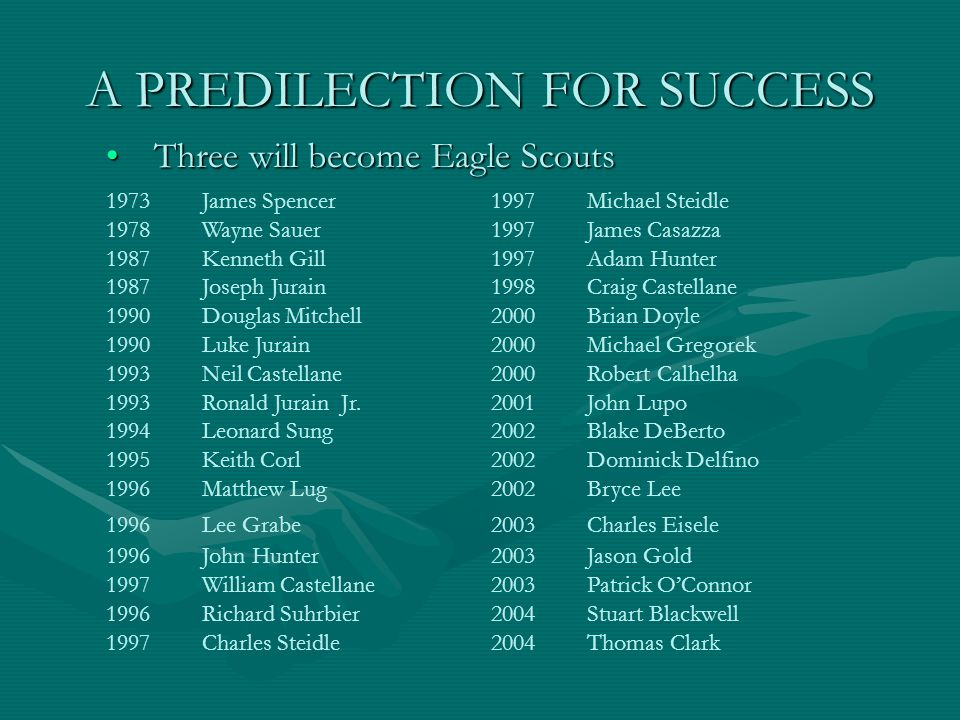 A PREDILECTION FOR SUCCESS Three will become Eagle ScoutsThree will become Eagle Scouts 1973James Spencer1997Michael Steidle 1978Wayne Sauer1997James