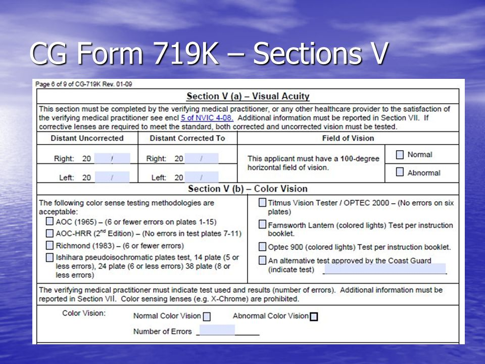 CG Form 719K – Sections V