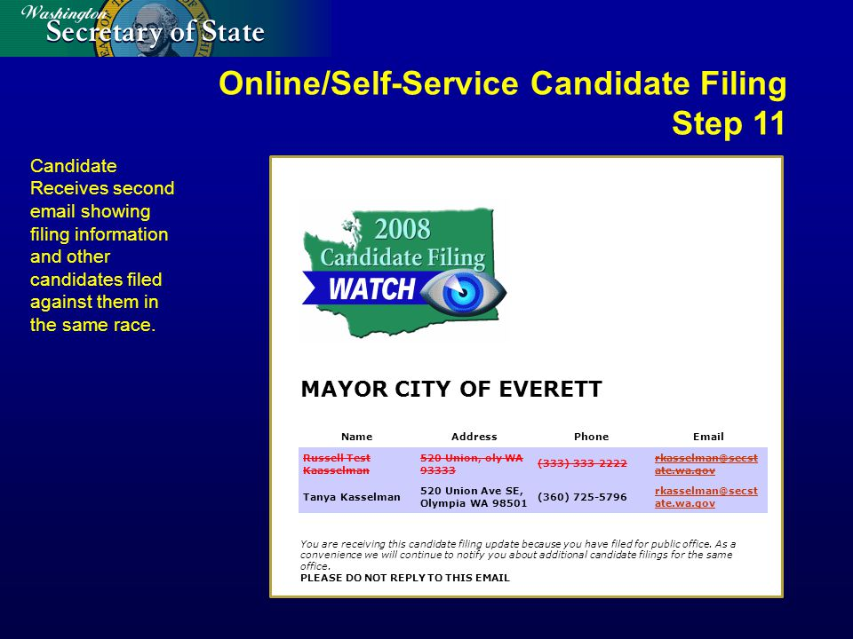 MAYOR CITY OF EVERETT You are receiving this candidate filing update because you have filed for public office.