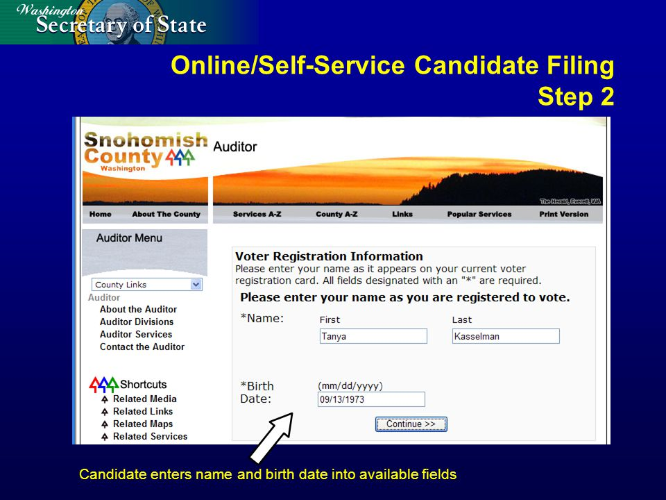 Online/Self-Service Candidate Filing Step 2 Candidate enters name and birth date into available fields