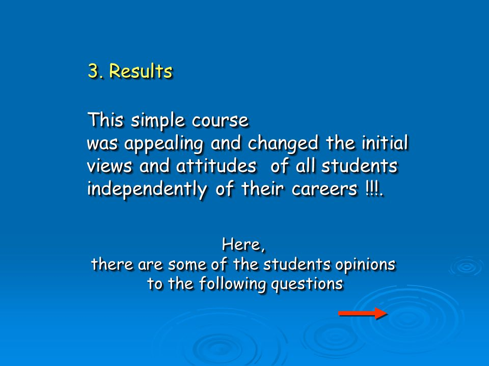 This simple course was appealing and changed the initial views and attitudes of all students independently of their careers !!!.