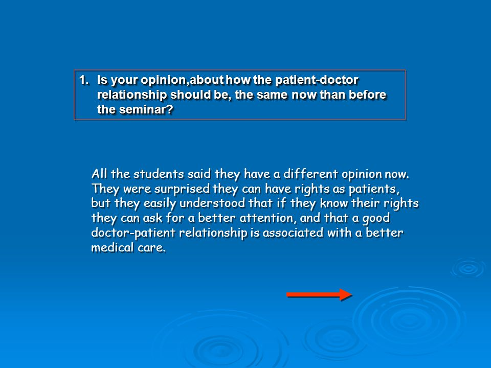 1.Is your opinion,about how the patient-doctor relationship should be, the same now than before the seminar.
