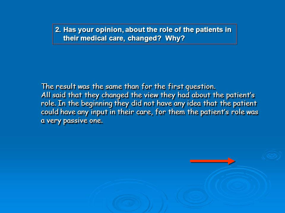 2. Has your opinion, about the role of the patients in their medical care, changed? Why? 2. Has your opinion, about the role of the patients in their