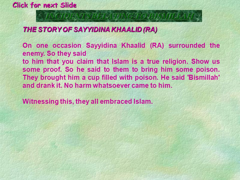THE STORY OF THE ROMAN KING It is mentioned in Moo-dhi-hul Qur'aan that the king wrote to Sayyidina Umar (RA) that he has continious headaches and to