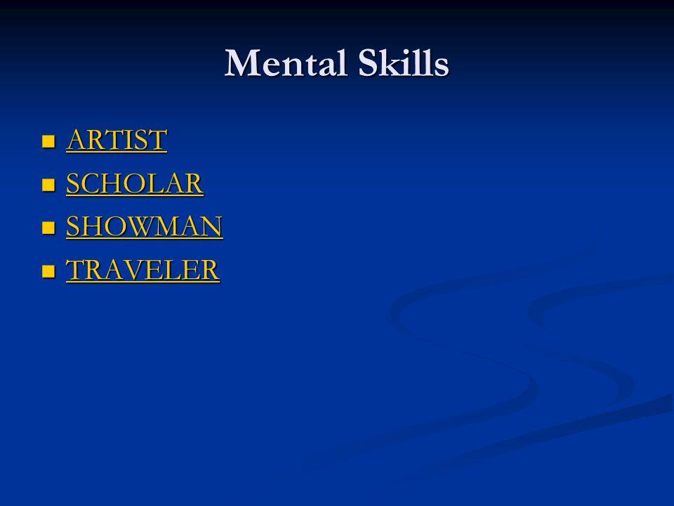 Mental Skills ARTIST ARTIST ARTIST SCHOLAR SCHOLAR SCHOLAR SHOWMAN SHOWMAN SHOWMAN TRAVELER TRAVELER TRAVELER