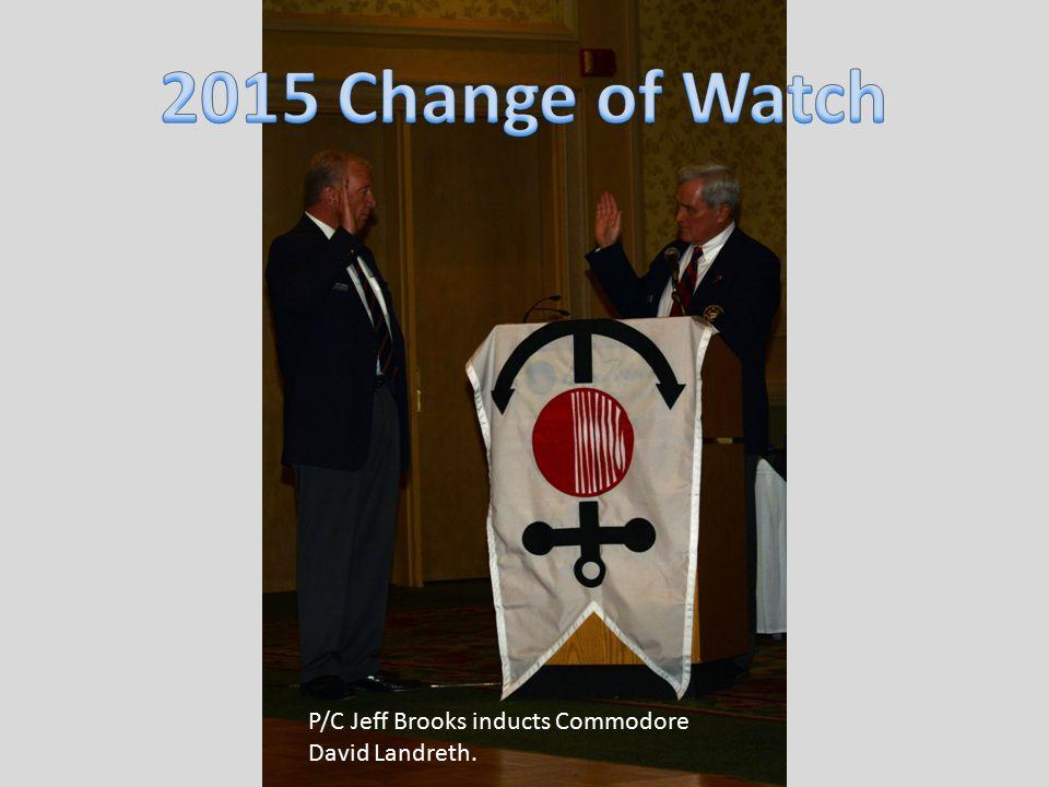 P/C Jeff Brooks inducts Commodore David Landreth.