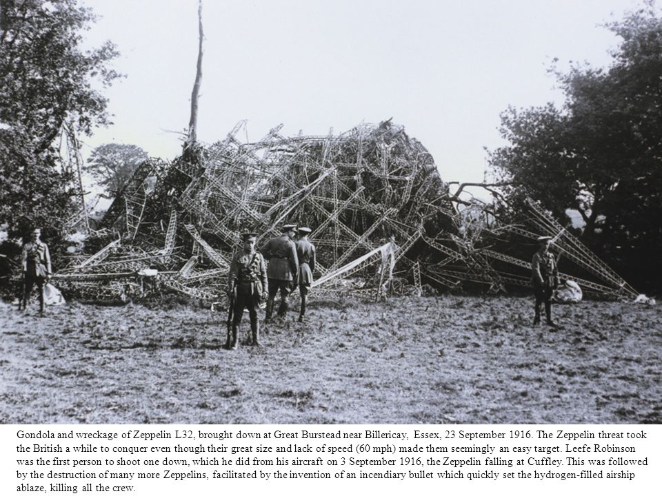 Gondola and wreckage of Zeppelin L32, brought down at Great Burstead near Billericay, Essex, 23 September 1916.