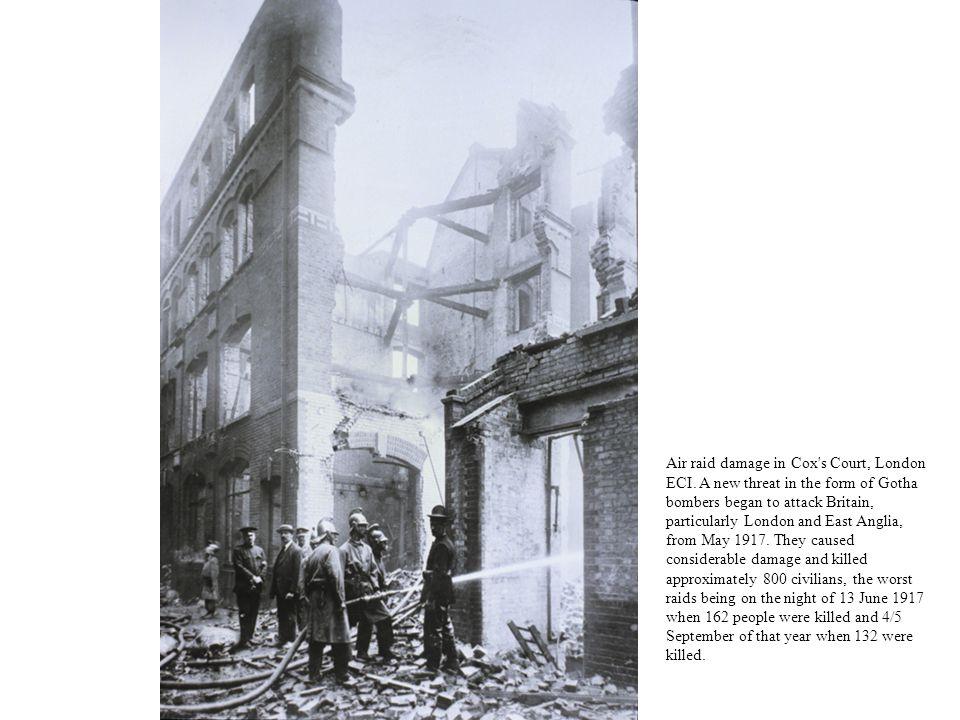 Air raid damage in Cox s Court, London ECI.