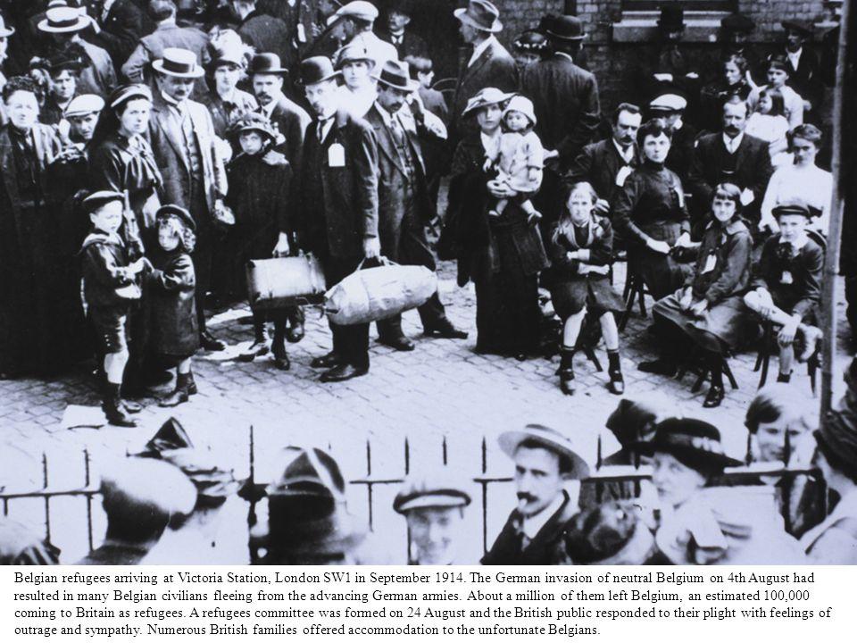 Belgian refugees arriving at Victoria Station, London SW1 in September 1914.