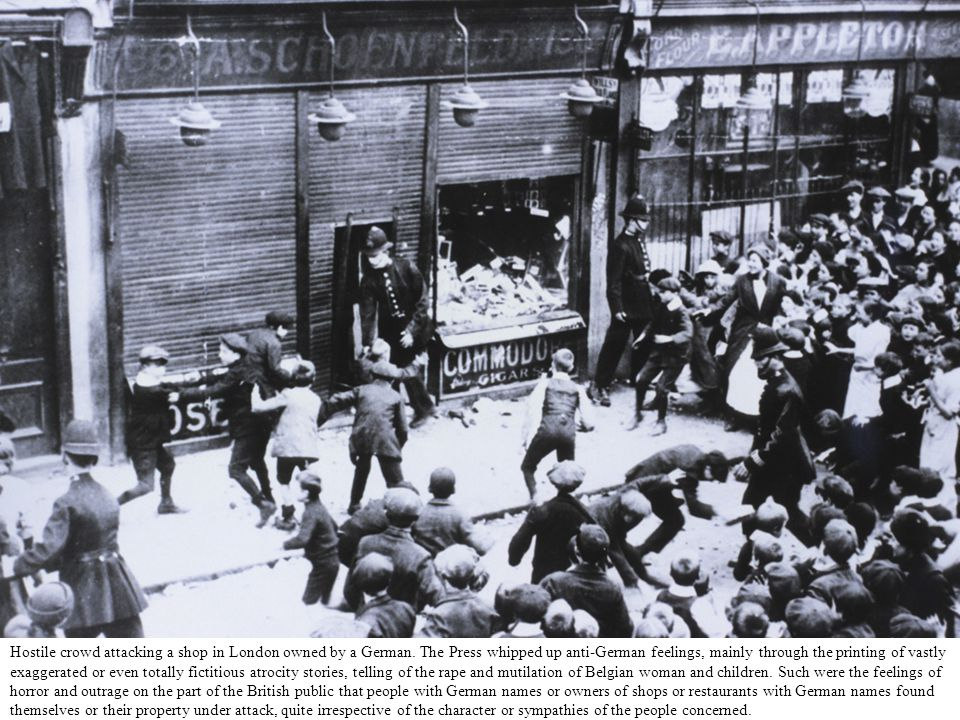 Hostile crowd attacking a shop in London owned by a German.