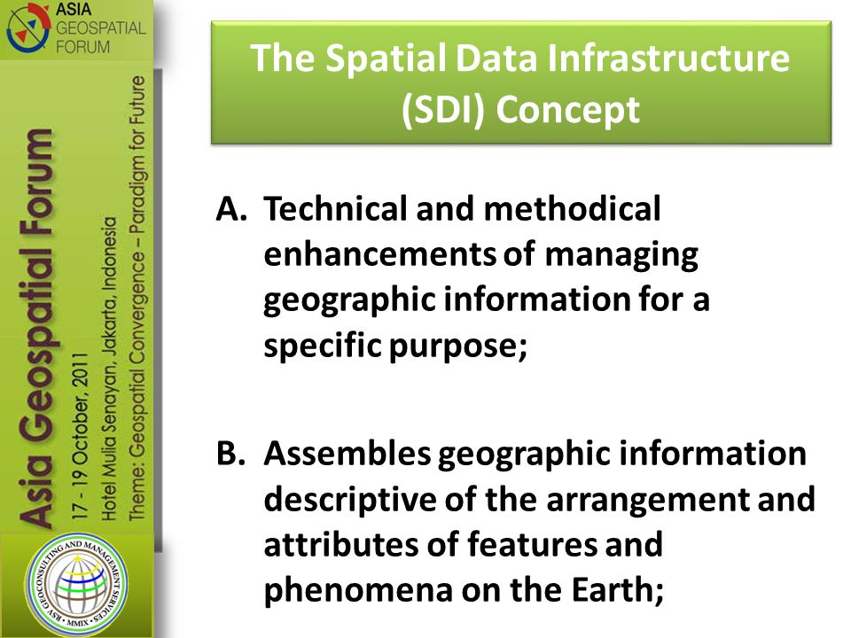 A.Technical and methodical enhancements of managing geographic information for a specific purpose; B.Assembles geographic information descriptive of the arrangement and attributes of features and phenomena on the Earth; The Spatial Data Infrastructure (SDI) Concept