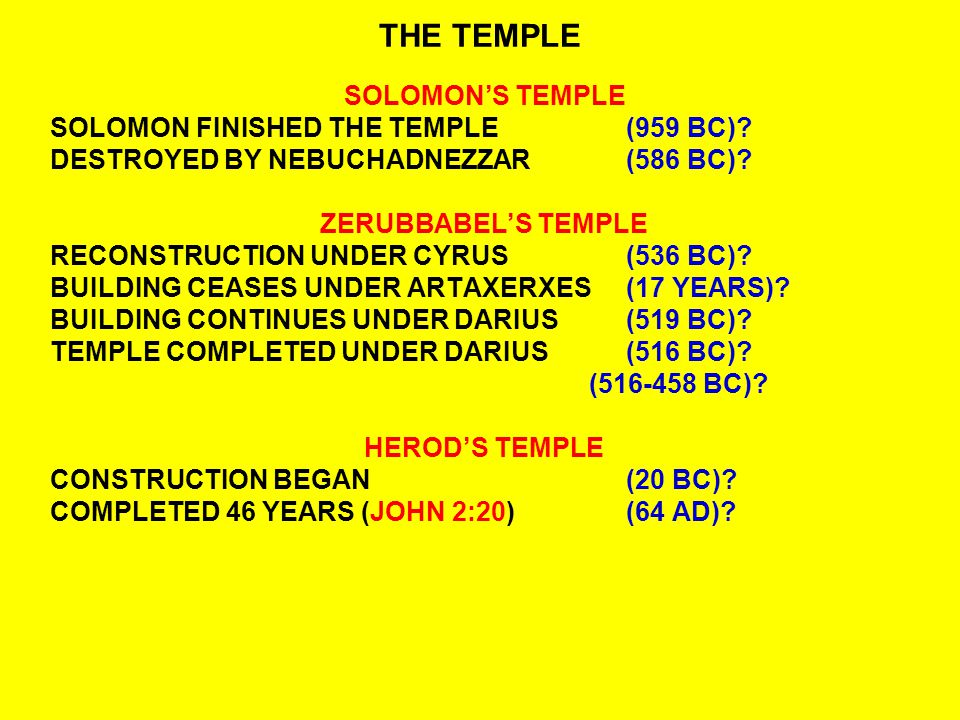 THE TEMPLE SOLOMON'S TEMPLE SOLOMON FINISHED THE TEMPLE(959 BC).