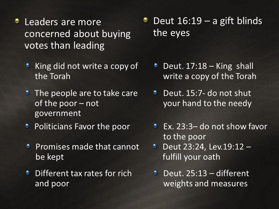 Leaders are more concerned about buying votes than leading Deut 16:19 – a gift blinds the eyes Promises made that cannot be kept The people are to take care of the poor – not government Different tax rates for rich and poor Deut 23:24, Lev.19:12 – fulfill your oath Deut.