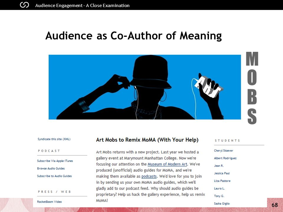 68 Audience Engagement – A Close Examination Audience as Co-Author of Meaning