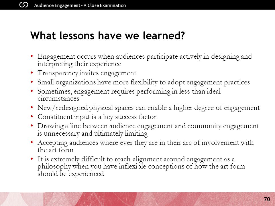 70 Audience Engagement – A Close Examination What lessons have we learned.