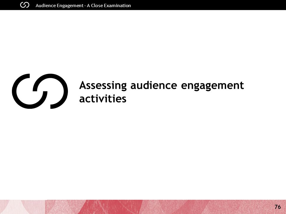 76 Audience Engagement – A Close Examination Assessing audience engagement activities