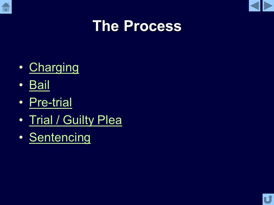 The Process Charging Bail Pre-trial Trial / Guilty Plea Sentencing