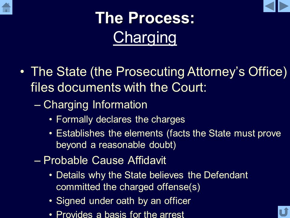The Process: The Process: Charging The State (the Prosecuting Attorney's Office) files documents with the Court: –Charging Information Formally declares the charges Establishes the elements (facts the State must prove beyond a reasonable doubt) –Probable Cause Affidavit Details why the State believes the Defendant committed the charged offense(s) Signed under oath by an officer Provides a basis for the arrest