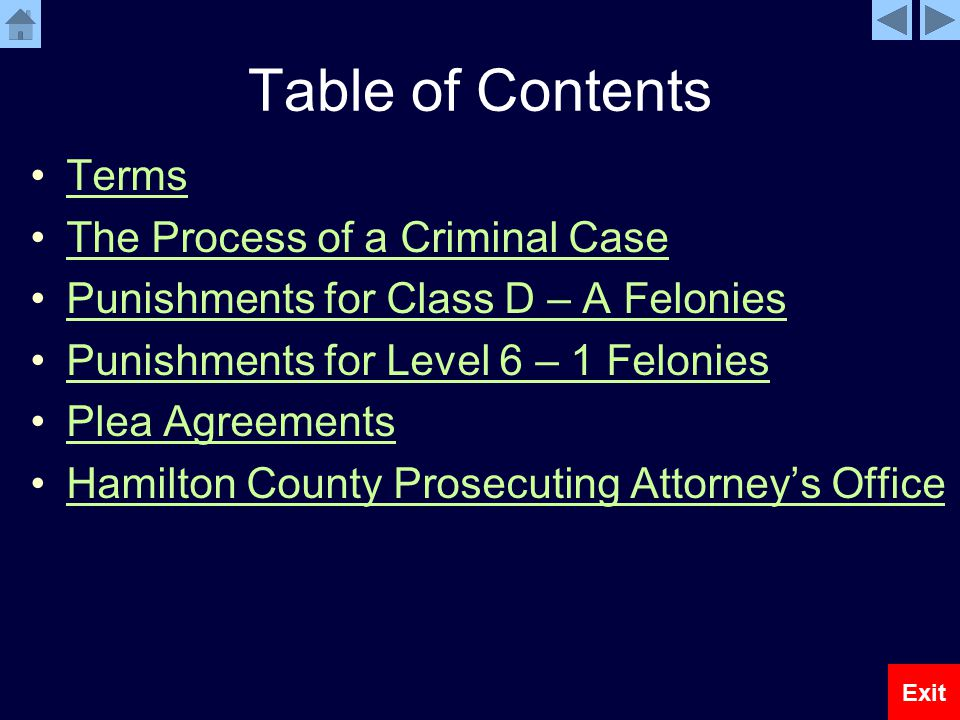 Table of Contents Terms The Process of a Criminal Case Punishments for Class D – A Felonies Punishments for Level 6 – 1 Felonies Plea Agreements Hamilton County Prosecuting Attorney's Office Exit