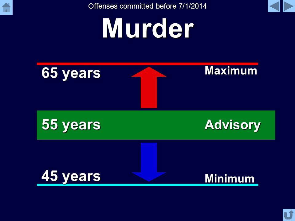 Murder 55 years 45 years 65 years Advisory Maximum Minimum Offenses committed before 7/1/2014