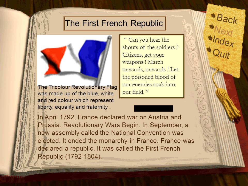 Back Index Quit Next From Monarchy to Republic In September 1791, the National Assembly drew up a constitution for France. It set out how the country