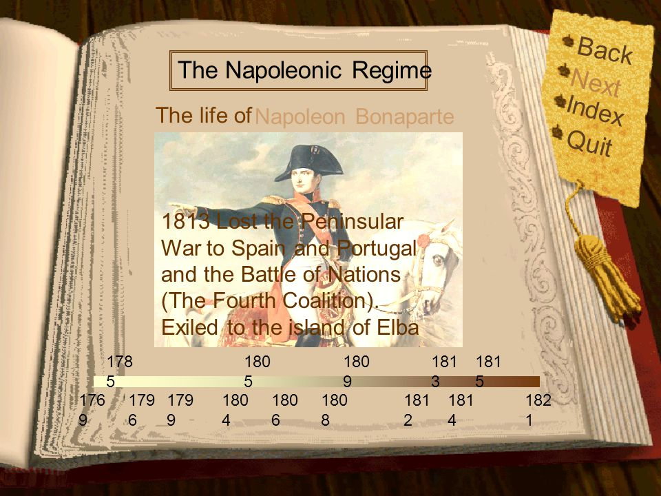 176 9 179 6 179 9 178 5 180 5 180 6 180 9 181 2 181 4 181 5 182 1 180 4 180 8 181 3 The life of The Napoleonic Regime Napoleon Bonaparte Back Index Quit Next 1812 Suffered great loss in the Russian Campaign.