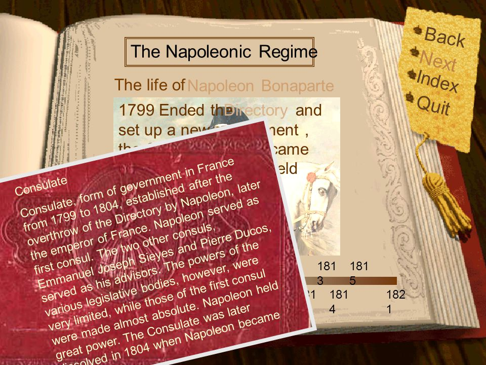 Back Index Quit 176 9 179 6 179 9 178 5 180 5 180 6 180 9 181 2 181 4 181 5 182 1 180 4 180 8 181 3 The life of The Napoleonic Regime Napoleon Bonaparte Next 1799 Ended the and set up a new government, the Consulate.